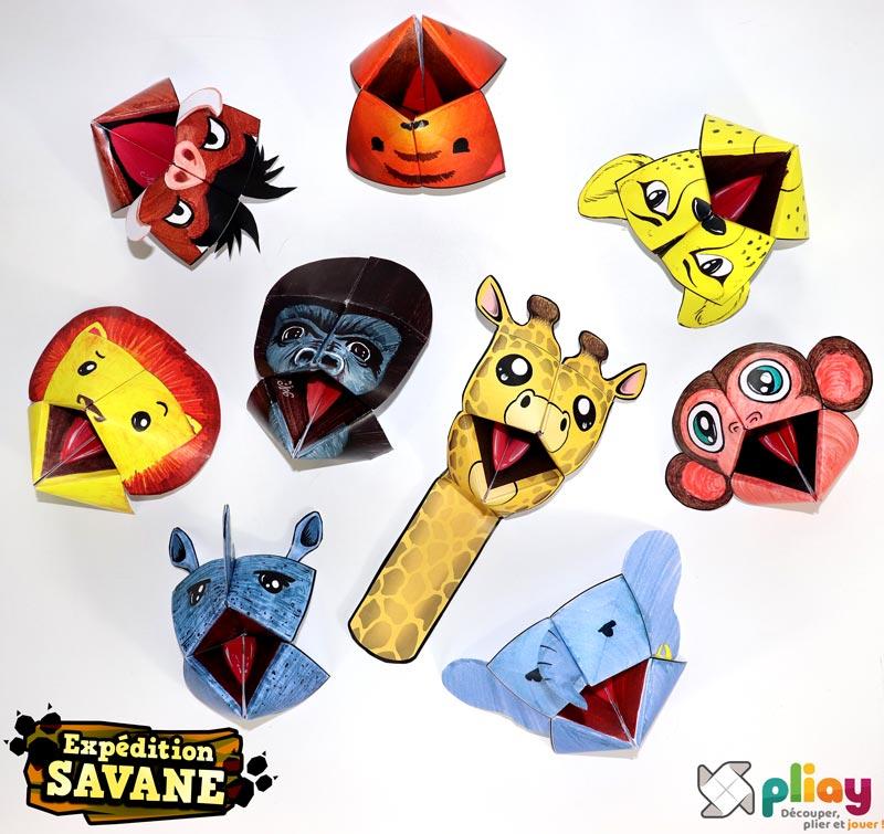 """Les marionnettes pliées du pack """"Expédition Savane"""" de Pliay"""