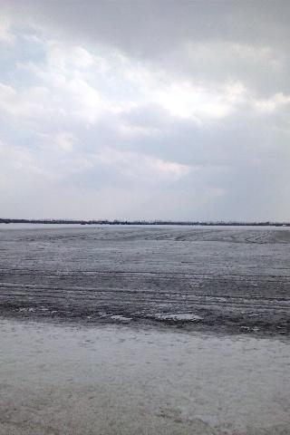 融雪剤を撒いた畑