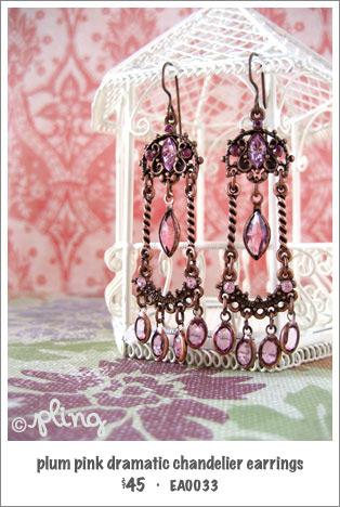 EA0033 - plum pink dramatic chandelier earrings