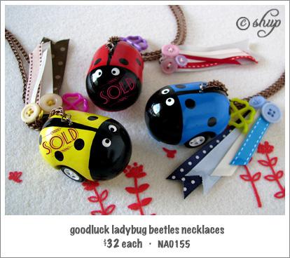 NA0155 - goodluck ladybug beetle necklace (only blue left!)