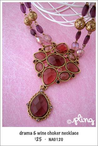 NA0120 - drama & wine choker necklace