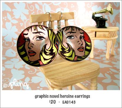 EA0143 - graphic novel heroine earrings