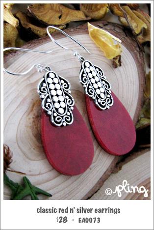 EA0073 - classic red n' silver earrings