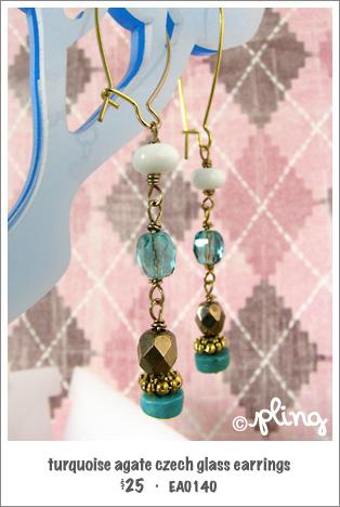 EA0140 - turquoise agate czech glass earrings