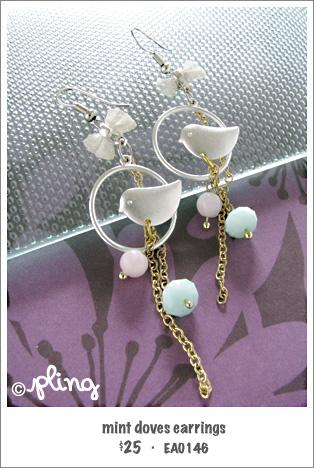 EA0146 - mint doves earrings