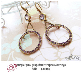 EA0089 - purple-pink grapefruit trapeze earrings