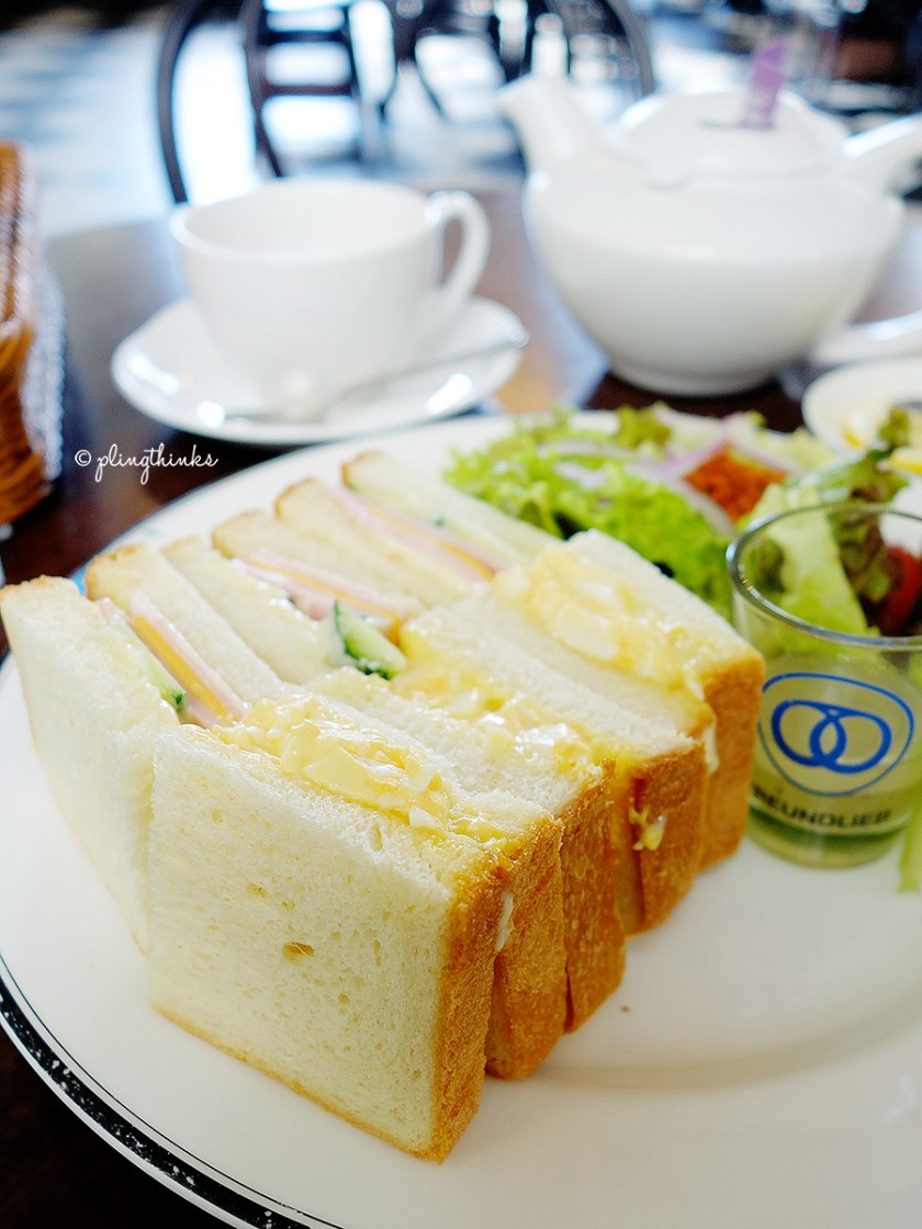 Egg Ham Sandwich Set at Cafe Freundlieb - Kobe Japan Cafes
