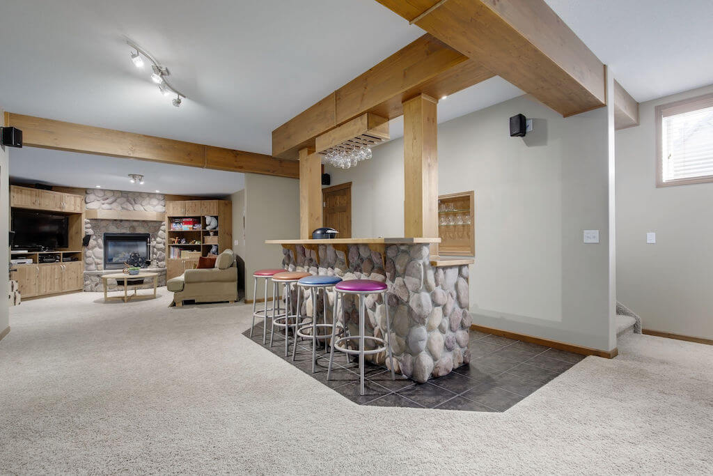 river-stone-wetbar-basement-303-Valley-Crest-Court-NW-Valley-Ridge-Plintz-Real-Estate-For-Sale-Calgary-Alberta