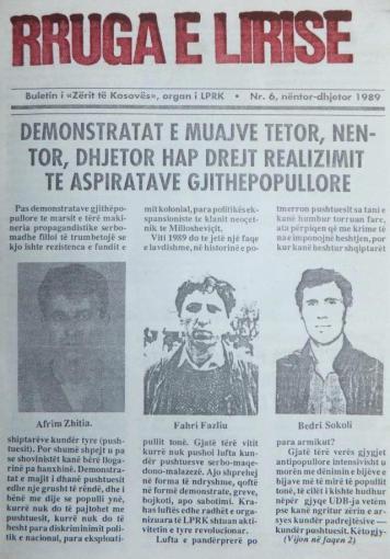 Njoftim për vrasjen e veprimtarëve Afrim Zhitia, Fahri Fazliu dhe Bedri Sokoli — buletini Rruga e Lirisë, nr. 6/1989, digjitizu nga Pashtriku.org
