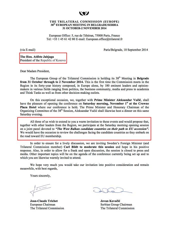 Ftesa e nënshkruar nga përfaqësuesi sërb i drejtohet znj. Jahjaga si kryetare e Republikës së Kosovës. Ky nënshkrim ka ngjallë shum kritika ndaj Kovaçiqit në mediat sërbe.