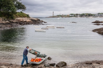 Lobster fisherman prepares his traps in Marblehead, MA