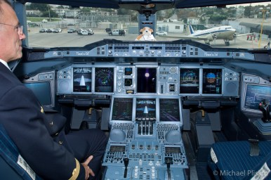 Airbus test pilot shows off the cockpit of the first Airbus A380 to fly to the United States, at LAX