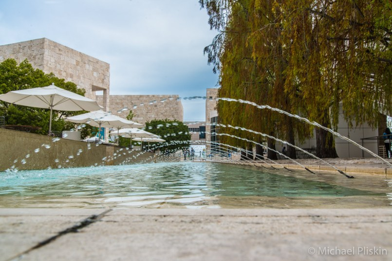 Water fountains in the central courtyard of the Getty Center in Los Angeles