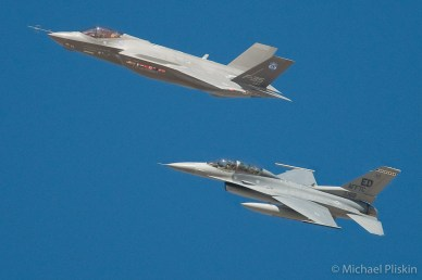 F-35A Lightning II JSF Joint Strike Fighter with F-16 chase plane