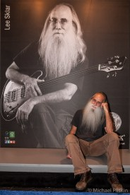 Lee Sklar poses with himself at the Warwick booth at NAMM