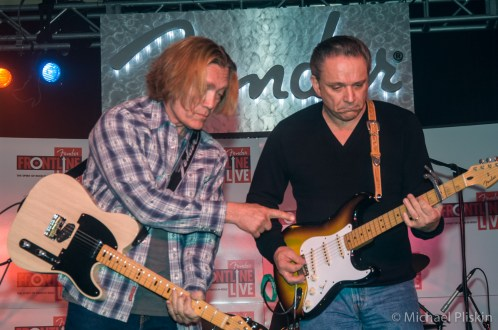 Guitarists G.E. Smith and Jimmy Vaughan jam at the Fender VIP party at NAMM 2007