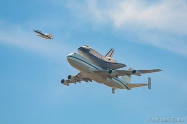 Space Shuttle Endeavour flies over Hollywood on the back of its 747 carrier on its final flight to Los Angeles retirement