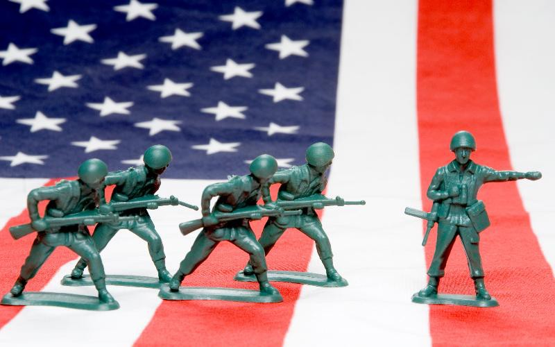american soldiers at war concept