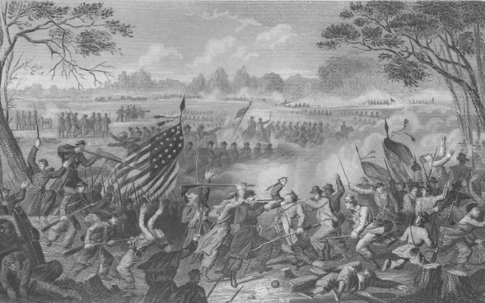 B&W Civil war battle scene