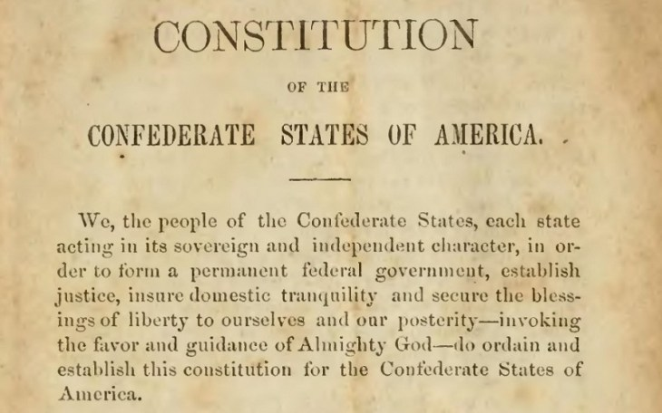 image of original Confederate Constitution