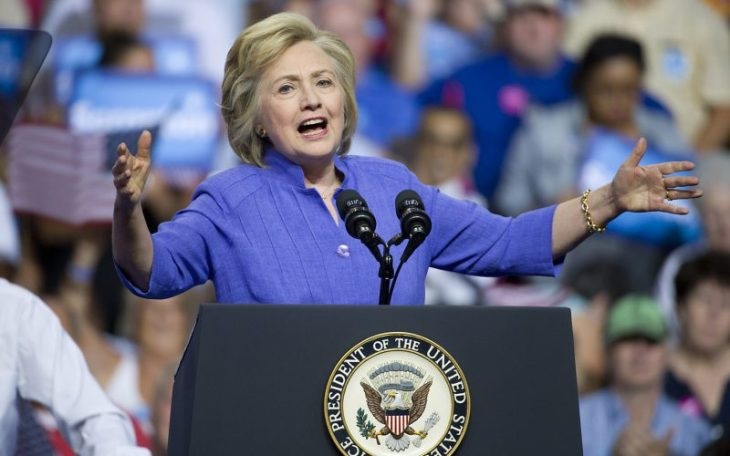 Democratic presidential candidate Hillary Clinton speaks to supporters during a campaign rally on Monday, Aug. 15, 2016 inside the Riverfront Sports complex in Scranton, Pa. (Harry Fisher/Allentown Morning Call/TNS)