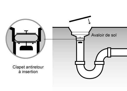 Clapet anti-retour insertion protection refoulement