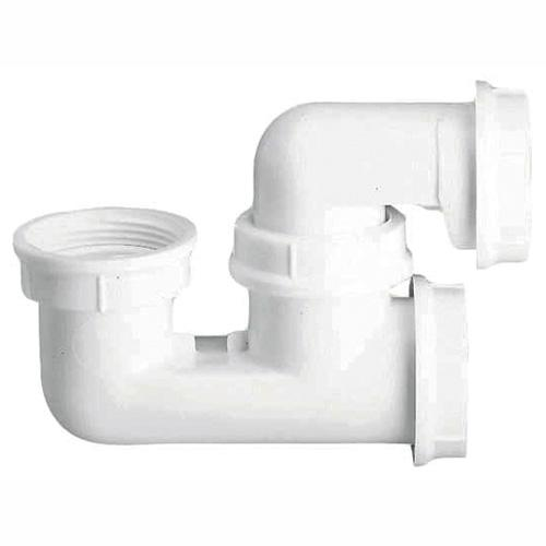 siphon de baignoire plastique blanc avec bouchon de visite sas