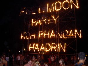 Full Moon Party fire sign in Haad Rin on Koh-Phangan, Thailand