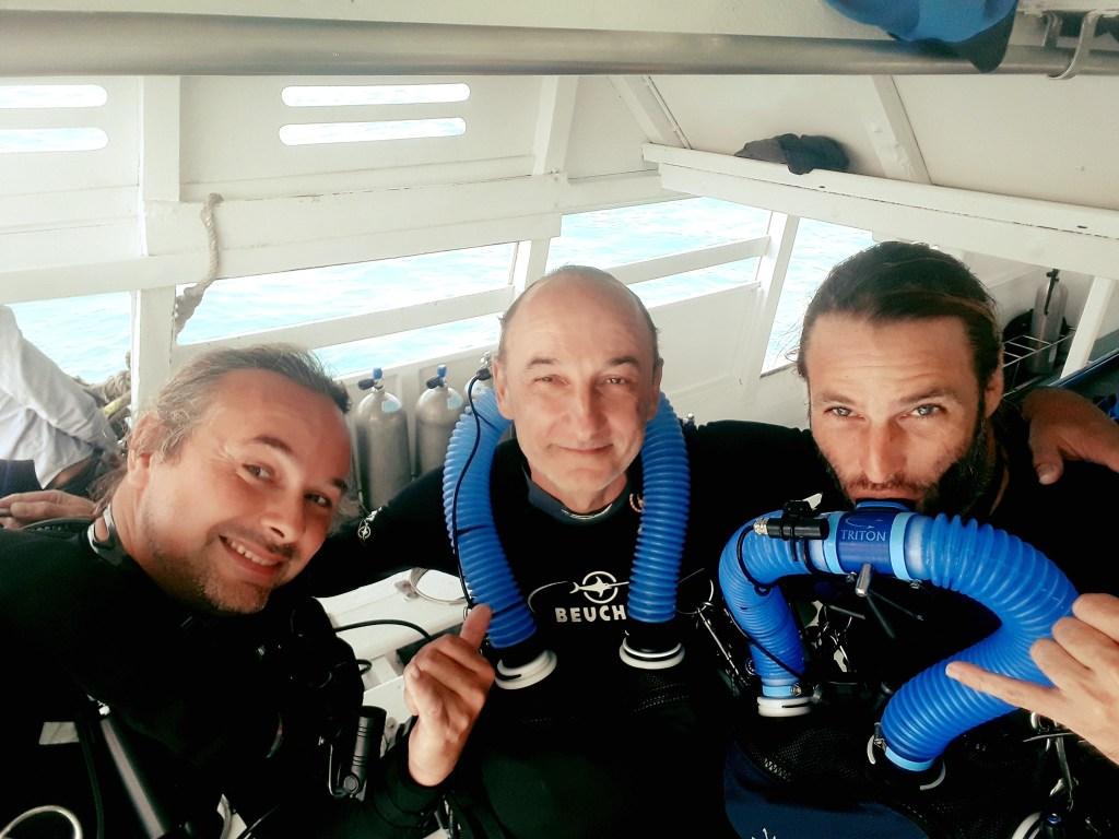 IANTD Christian Heylen, Serge Galin, Yann Poire sur recycleur Triton CCR en bateau