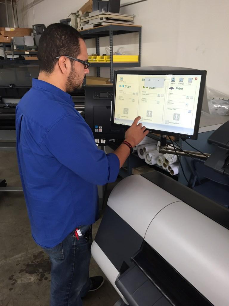 person using machine monitor control