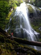 Tim at the base of the huge waterfall we hiked to in Oregon. It was so lush.