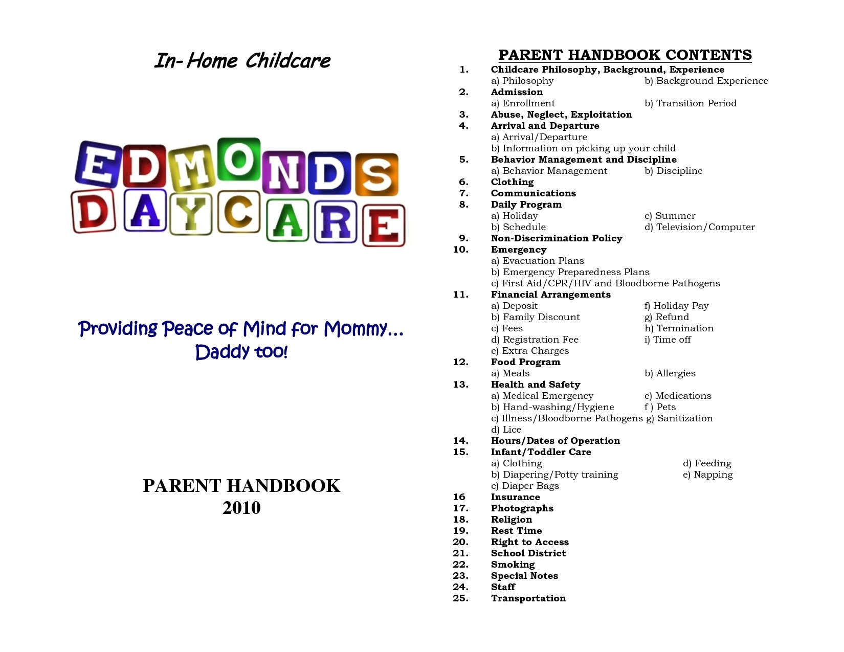 Emergency Disaster Plan For Family Child Care Homes