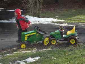 Looks like we've got a problem.  The Little Farmer devises a plan and takes off running to put the plan in motion.