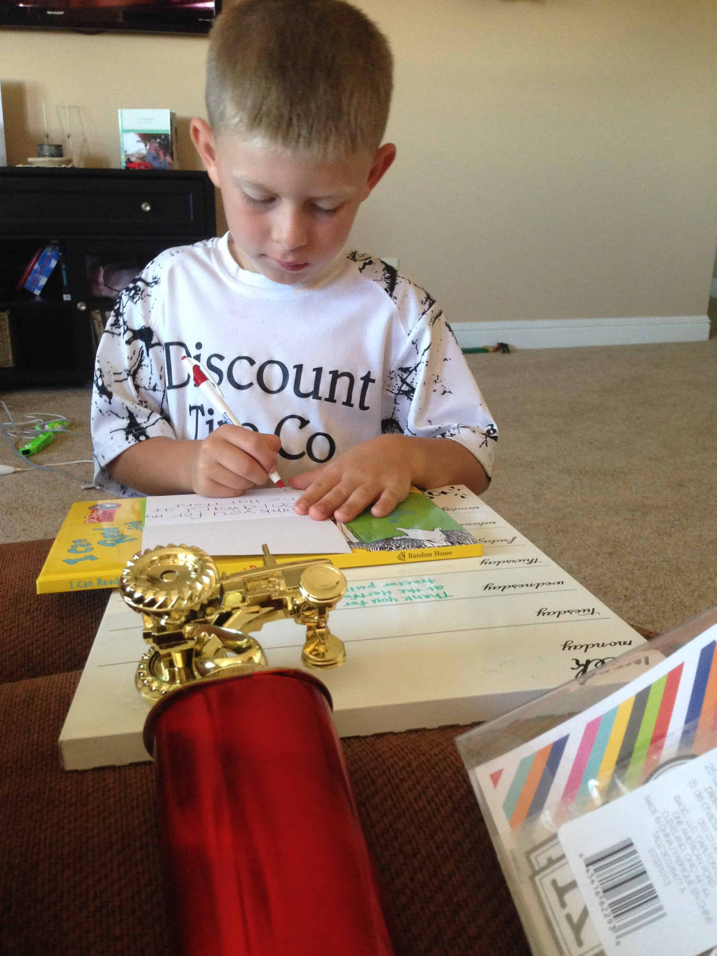 Let's teach our kids how to write thank you notes!