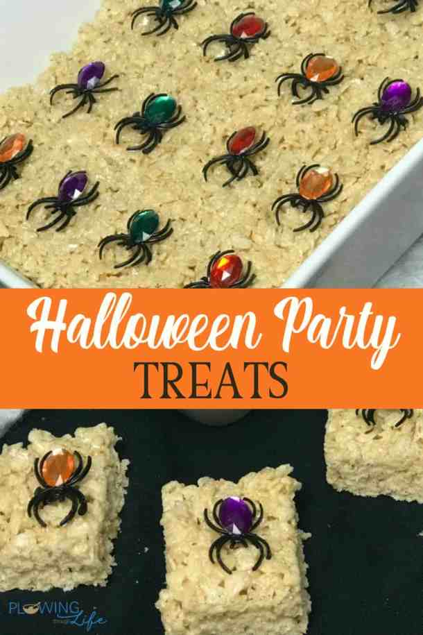 Halloween recipe for kid party - rice crispy treats with spider rings