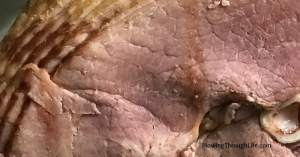 Close up of spiral sliced ham with easy ham glaze recipe