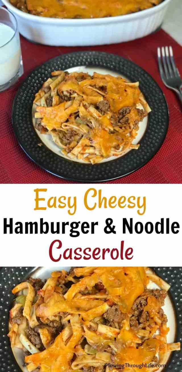 Easy cheesy hamburger casserole recipe with noodles is a quick weeknight meal recipe. Lots of cheese, pasta, and ground beef make this a hit with the kids. #quickandeasy #casserole #beef #pasta #groundbeef #cheese