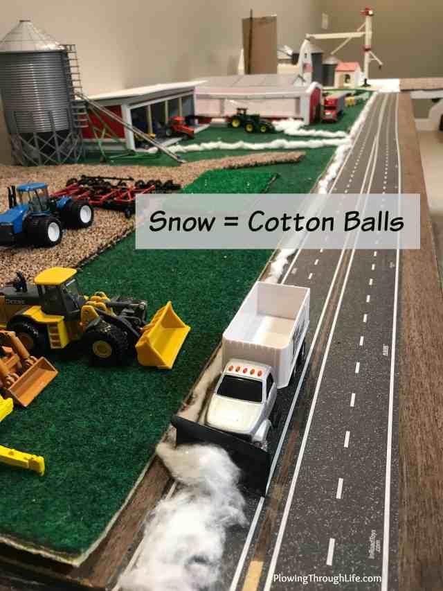 snow idea on 1/64 farm scene
