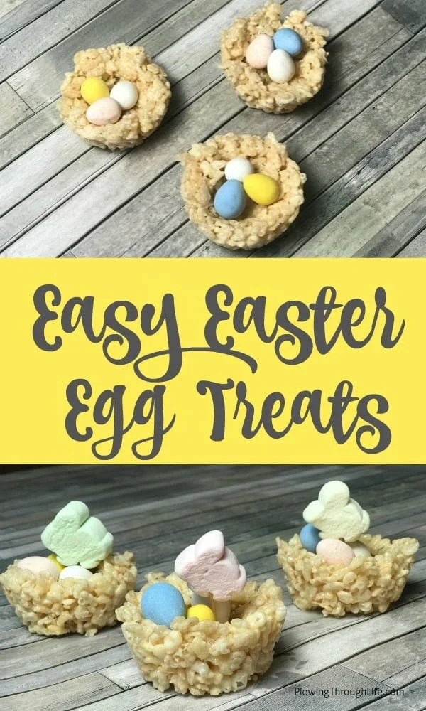 We love making and eating this easy Easter Egg Nest Treats.  Using crispy rice cereal is my go to snack for family meals.  All of the kids LOVE these treats and adults tend to enjoy them too!