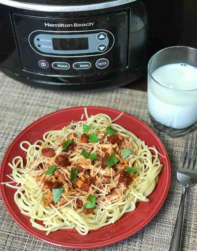 crock pot spaghetti with pork easy meal idea