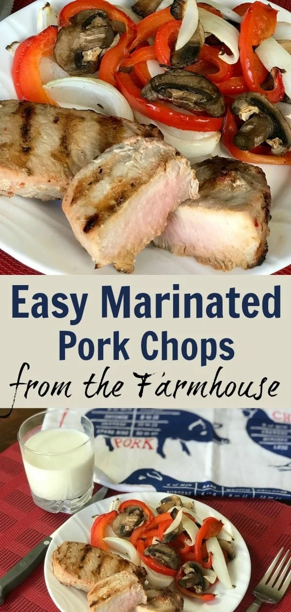 We love easy recipes for the grill and these are the our favorite pork chops to grill all summer long! We marinate the chops overnight and in ten minutes the chops are finished. Add grilled vegetables and a salad for a great, easy meal!
