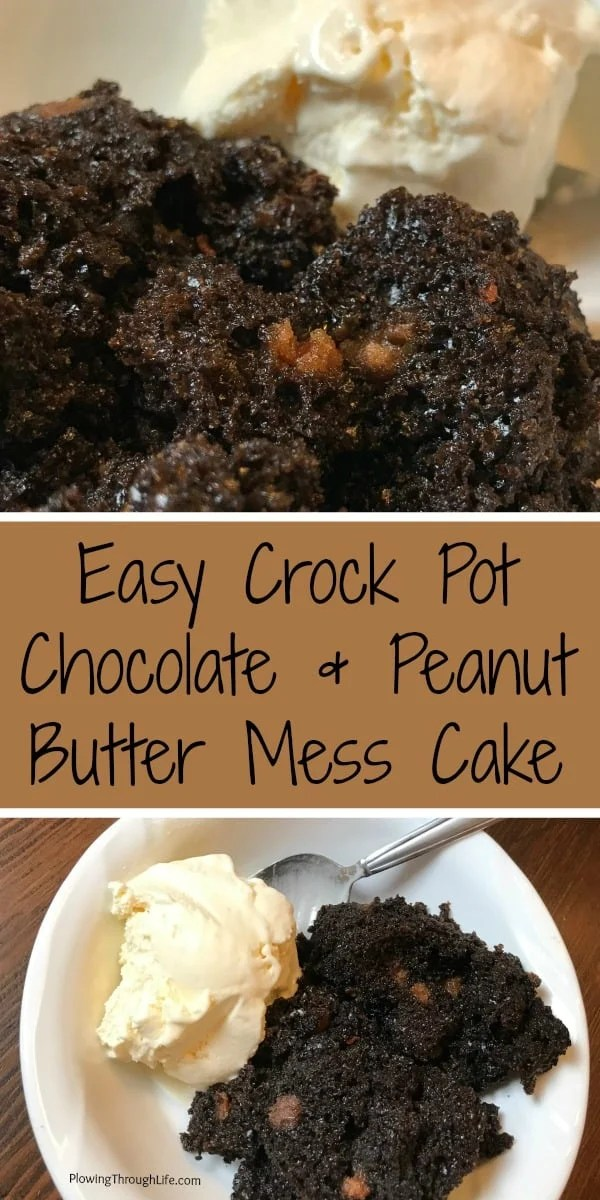 simple chocolate and peanut butter mess cake in the crock pot or slow cooker