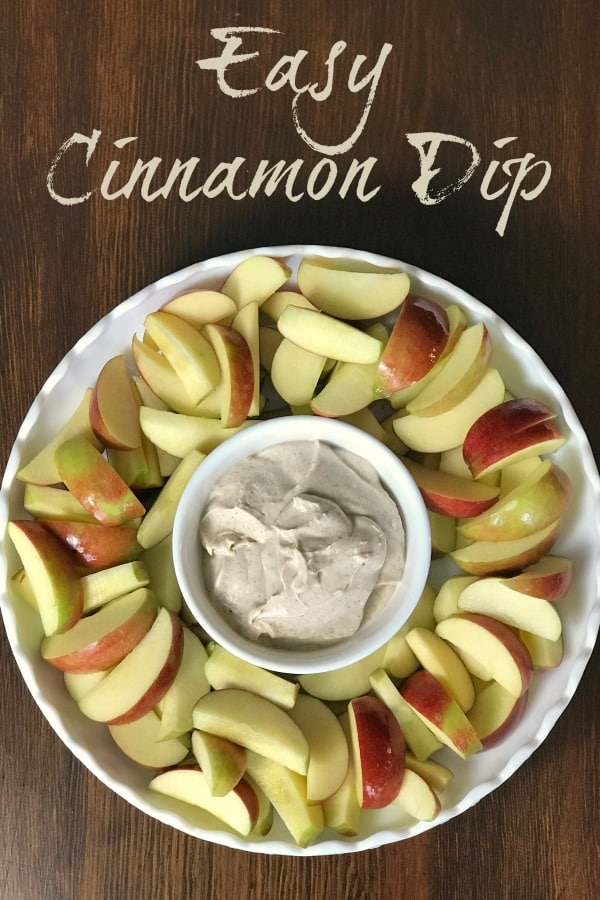 Easy Cinnamon Dip is perfect for dipping fresh apples or any kind of fruit! Only 3 ingredients of marshmallow creme, cream cheese and cinnamon. This fruit dip is amazing!