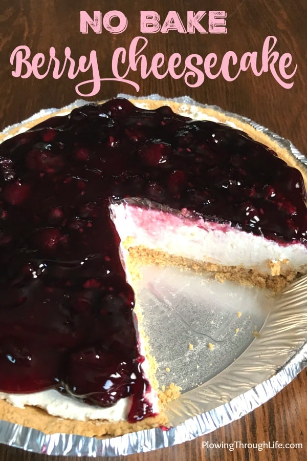 Do you need a last minute dessert that's easy and delicious? This no bake berry cheesecake takes only Ten-Minutes. The Berry Cheesecake only has 5 ingredients and is the perfect treat for a weeknight or a big gathering.
