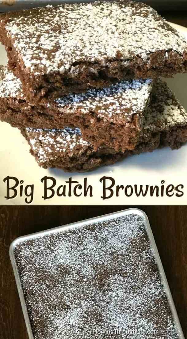 Do you need an easy chocolate dessert to feed a crowd?  This big batch of homemade brownies is super easy and very delicious! #easybrownies #bigbatchbrownies