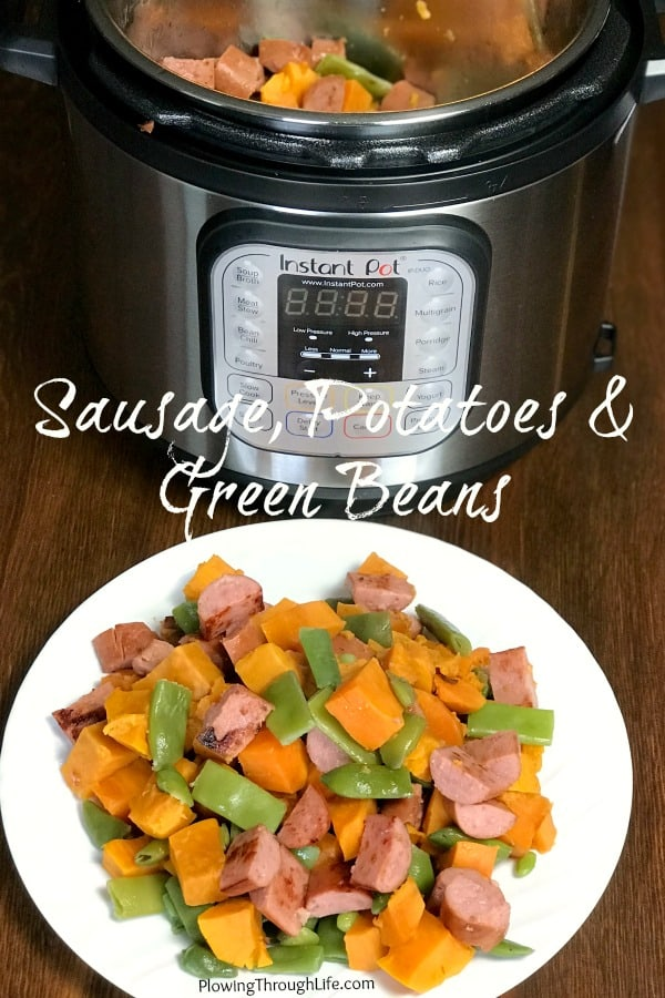 Do you have a hankering for a classic meal that can be put together in less than 15 minutes?  Smoked sausage, potatoes, and green beans are the perfect combination to make a quick meal in the Instant Pot. #easyrecipe #instantpotrecipe