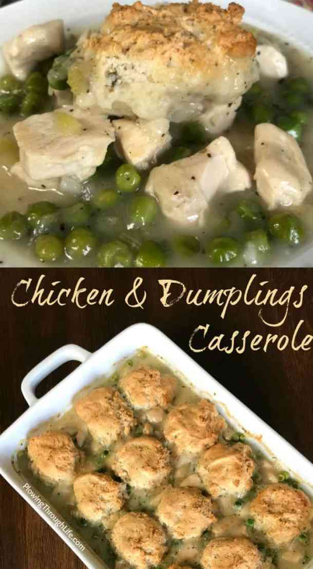 Are you looking for an easy casserole to warm you up? This chicken and dumplings casserole is the perfect comfort food for cold weather! #chickencasserole