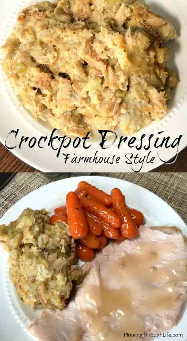 Do you need a simple meaty dressing recipe? This Farmhouse crockpot dressing is simple, delicious and has a hearty meat flavor. This is the perfect side dish for a special meal! #crockpotdressing