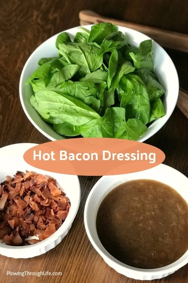 Do you need a healthy side dish that still tastes great?  Bacon makes everything better, especially salad!  This hot bacon salad dressing is a delicious recipe that's been in our family for years! #saladdressing