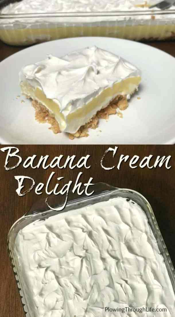We especially like this Easy Banana Cream Delight because it's easy to make, tastes great and is made without fresh bananas!  The banana cream pudding dessert ensures a light, consistent taste every time you make it. #easydessert #lightdessert